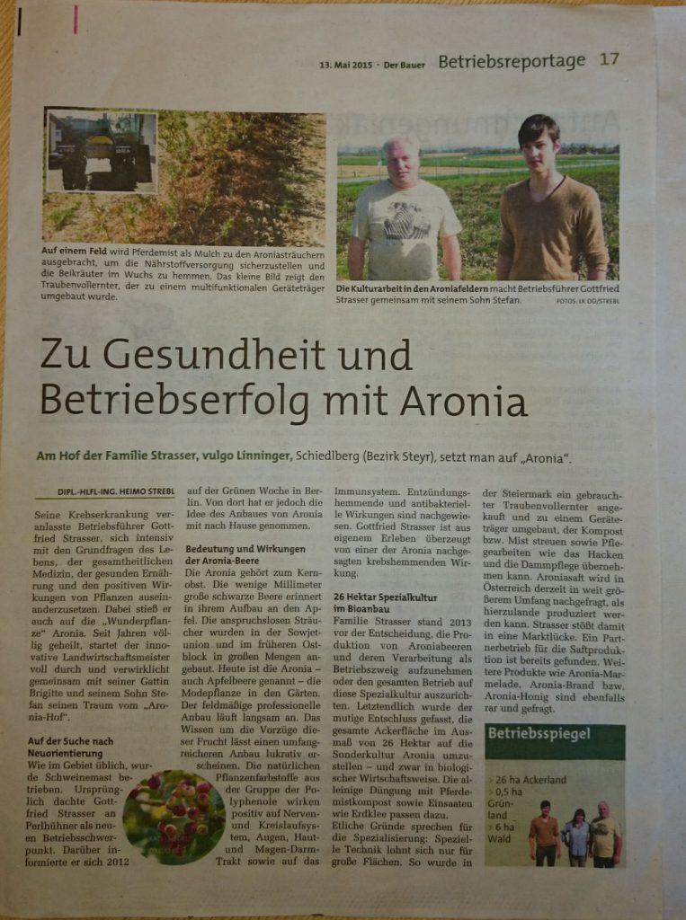 Zu Gesundheit und Betriebserfolg mit Aronia - Der Bauer 13.05.15